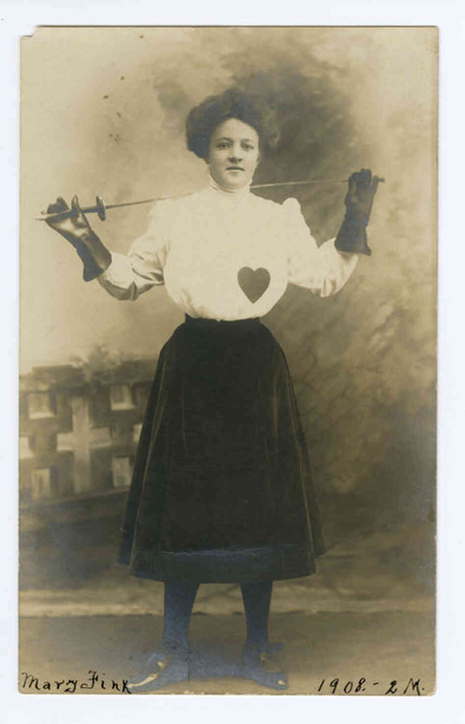 """Mary Fink, May 2, 1908."" Female fencer, photographer C.E. Kerfoot, Washington, D.C."