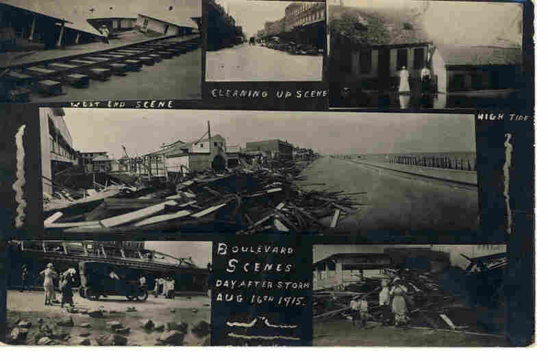 """Boulevard Scenes. Day After Storm. Aug. 16, 1915."" Photographer L. Tobler, taken at Galveston Beach at the Murdoch Bath House"