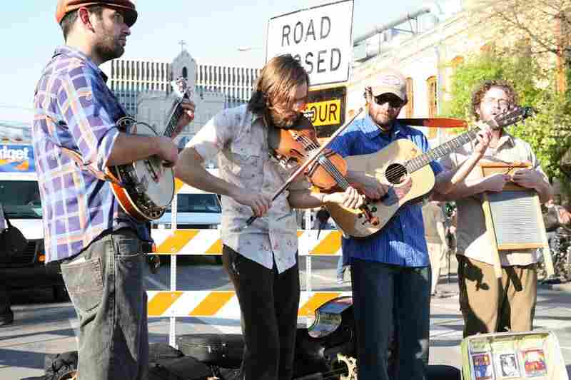 A street band performs in Austin