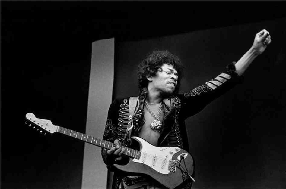 Jimi Hendrix performs a soundcheck at the Monterey Pop Festival, 1967.