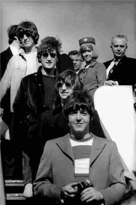 The Beatles coming off the plane in San Francisco, Calif., on August 29, 1966, before their last concert.