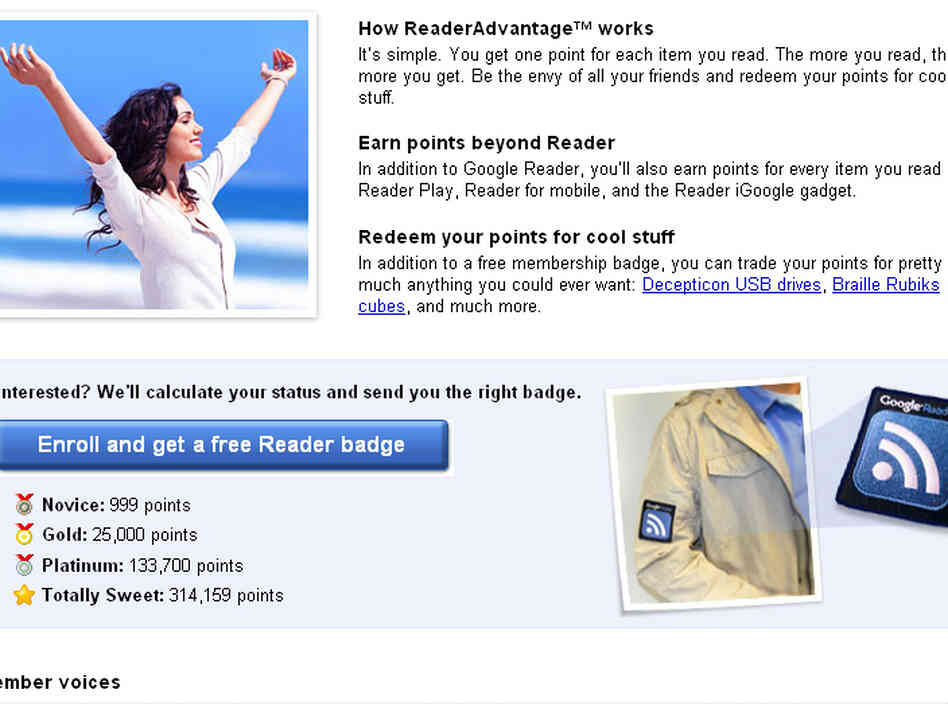 Screengrab of Google's offer for ReaderAdvantage