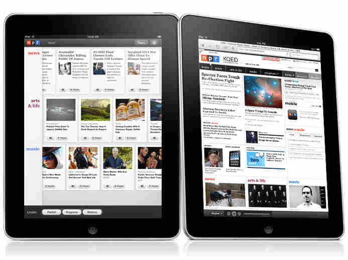 The NPR iPad app (left) and site