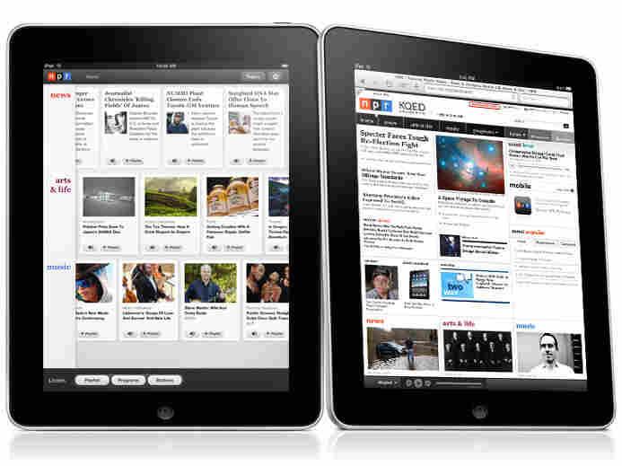 The NPR iPad app (left) and site