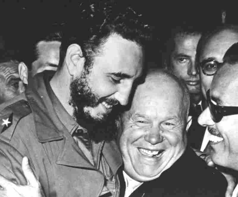 Cuban Prime Minister Fidel Castro (left) is embraced by Soviet Premier Nikita Khrushchev in the United Nations General Assembly, Sept. 20, 1960.