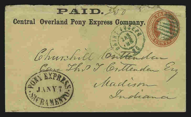 A postmarked envelope from the Central Overland Pony Express Company from January 1861. The original cost to send a letter via the Pony Express was $5 in gold per ounce of mail. Prices later dropped, and a 10-page letter could be sent for about $2.50.
