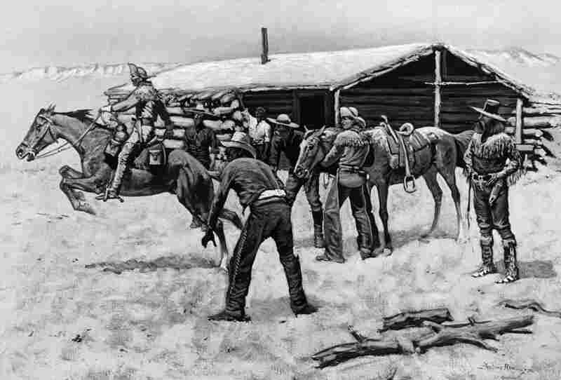 "A photo of a Frederic Remington painting, entitled ""The Coming and Going of the Pony Express,"" which depicts the mail relay at a Pony Express station. It is thought that riders were paid anywhere from $50 to $150 a month."