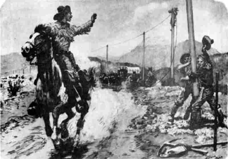 On Oct. 26, 1861, the Pony Express was officially discontinued after a little less than 19 months of operation. Having survived poor business decisions, inclement weather and skirmishes with American Indians, the Express met its downfall with the advent of the telegraph, as depicted in this painting.