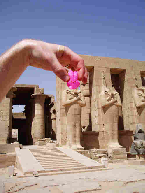 """We have a series of Peeps pictures from our trip to Egypt last week ... This Peep is filling in for Ramses' lost head at the Ramesseum in Luxor. Despite temperatures over 100 degrees, the Peeps never melted."""