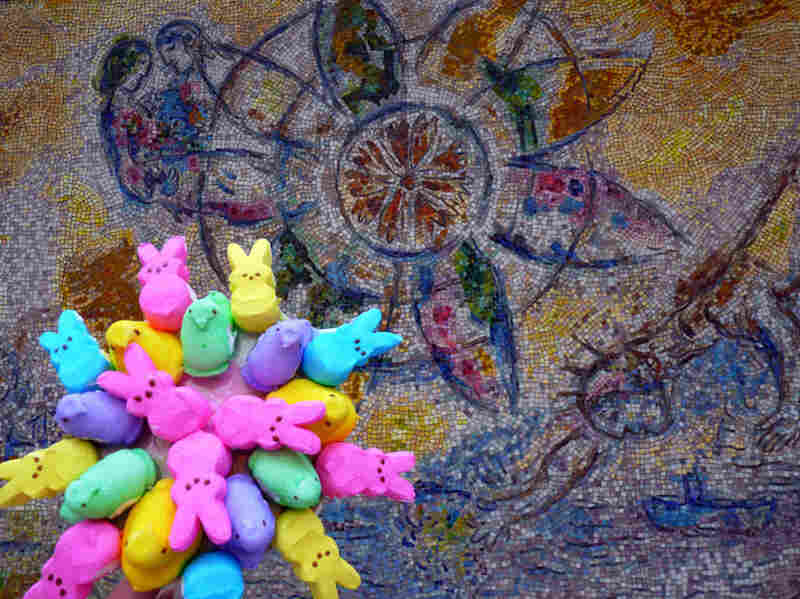 """Peeps checking out the Chagall mosaic The Four Seasons in downtown Chicago."""