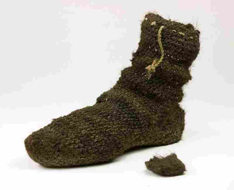 These 13th century socks, made by the ancient Puebloan peoples who lived in the Four Corners region of the U.S., were made of human hair knotted together.
