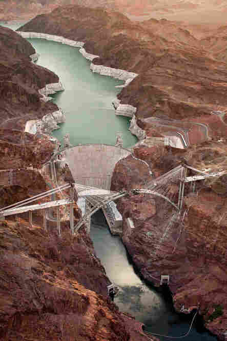 Colorado River Bridge, aerial view of bridge and Hoover Dam, June 30, 2009