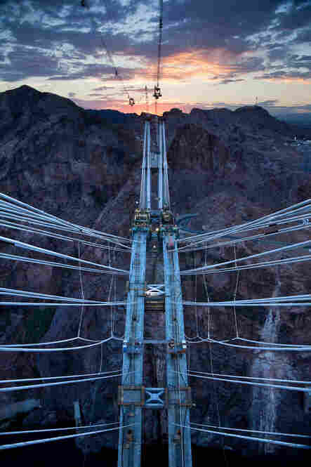 Colorado River Bridge, view from atop the pylons, or towers, toward the evening sunset in Nevada, July 1, 2009