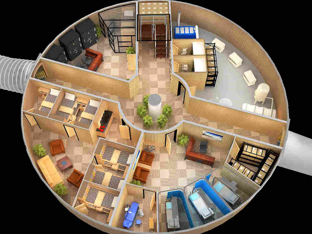 An artist's rendering of living quarters at a  Vivos complex.