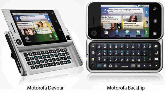 Motorola's Devour and Backflip mobile phones.