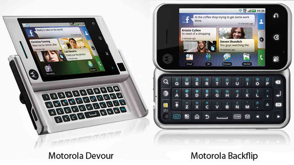 Motorola's Devour and Backflip mobile phones.