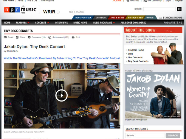 screen shot of NPR music site on April 2, 2010.