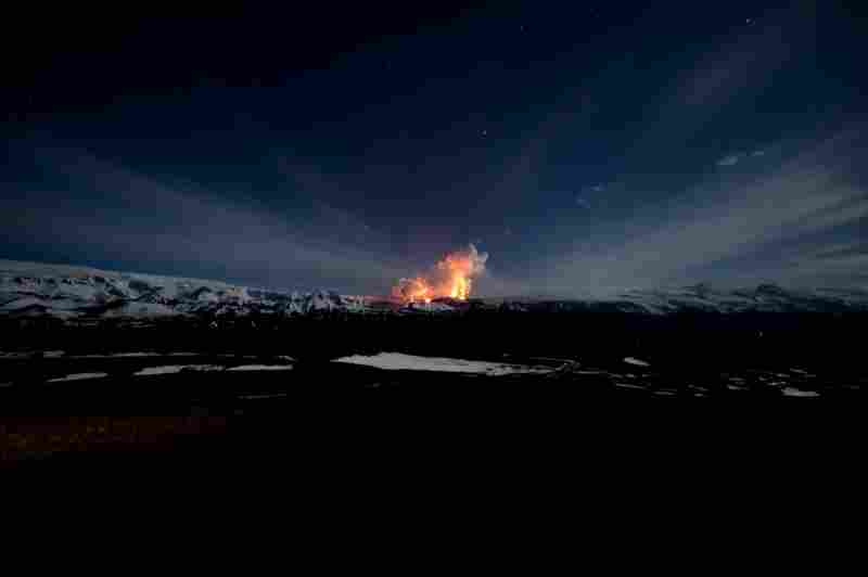 Lava lights up the night sky at the Fimmvorduhals volcano on March 27.