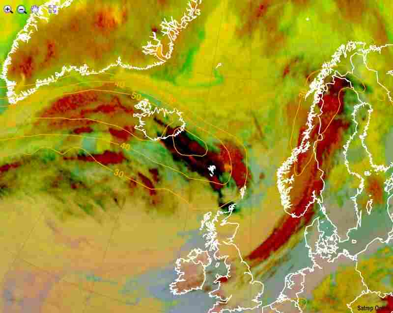 An image released by Meteosat on April 15 shows a dark cloud of volcanic ash over Iceland. As the ash spreads across northern Europe, it is forcing the closure of huge swaths of international airspace.
