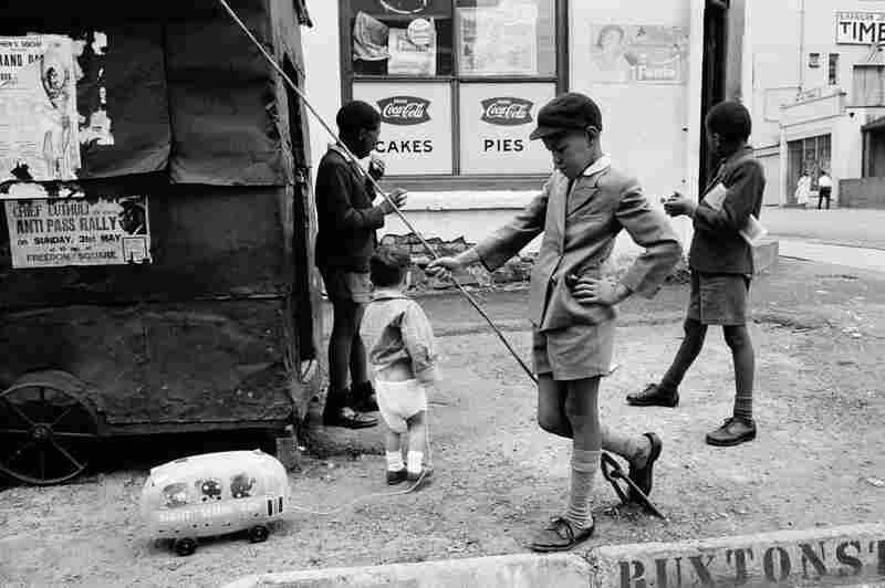 Steven with Sight Seeing Bus, Doornfontein, Johannesburg, 1960