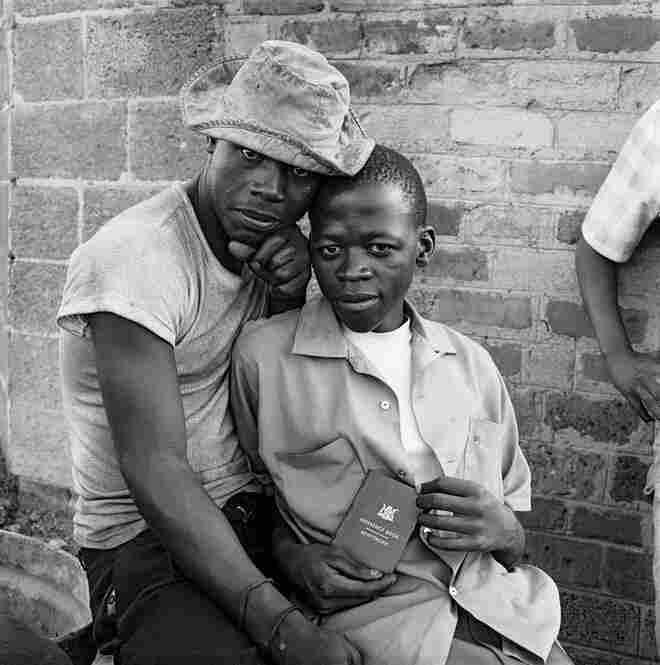 Young men with dompas, White City, Jabavu, Soweto, November 1972
