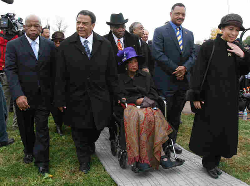 Height (center) is accompanied by (from left) Rep. John Lewis (D-GA), former Ambassador Andrew Young, the Rev. Jesse Jackson and former Secretary of Labor Alexis Herman at the groundbreaking ceremony for the Martin Luther King Memorial in Washington on Nov. 13, 2006.