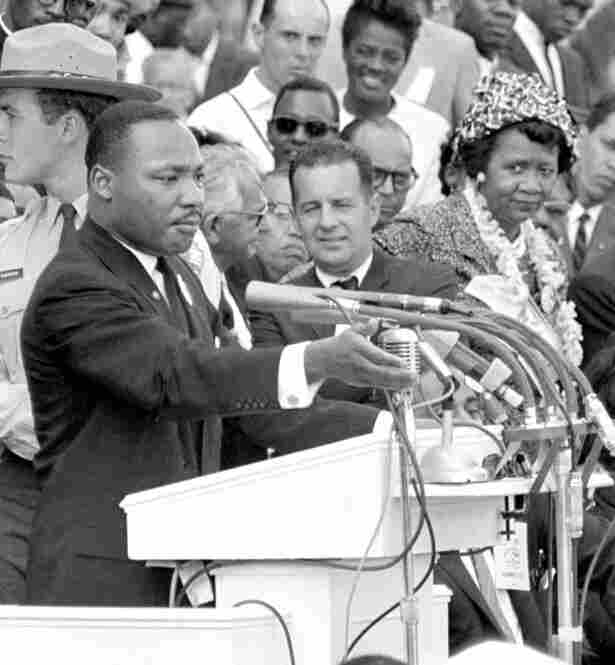 "Height listens to the Rev. Martin Luther King Jr. during his ""I Have a Dream"" speech during the 1963 March on Washington for Jobs and Freedom. Height was the only woman on the speakers' platform."