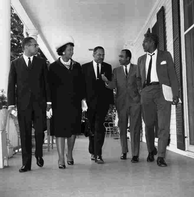 Height, and other African-American leaders, chat after a meeting with New York City Mayor Robert Wagner on June 4, 1965.