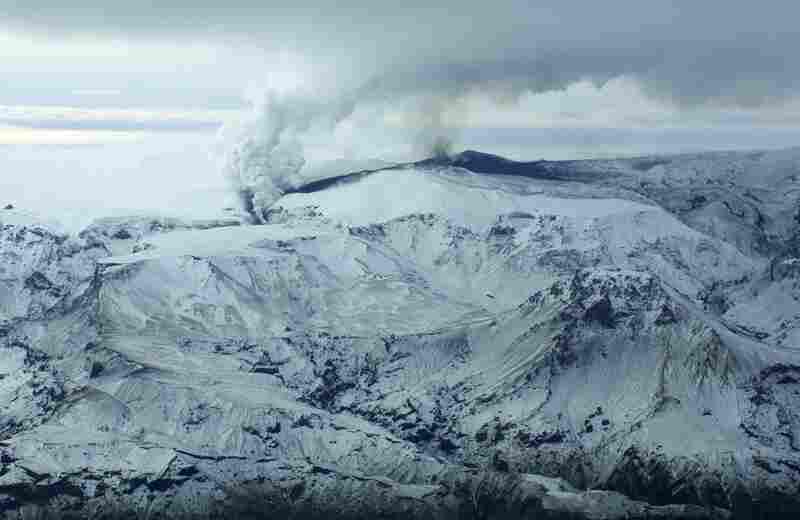 Smoke and ash spew out of a mountain volcano on March 21, 2010, in the region of the Eyjafjallajokull glacier in Iceland.