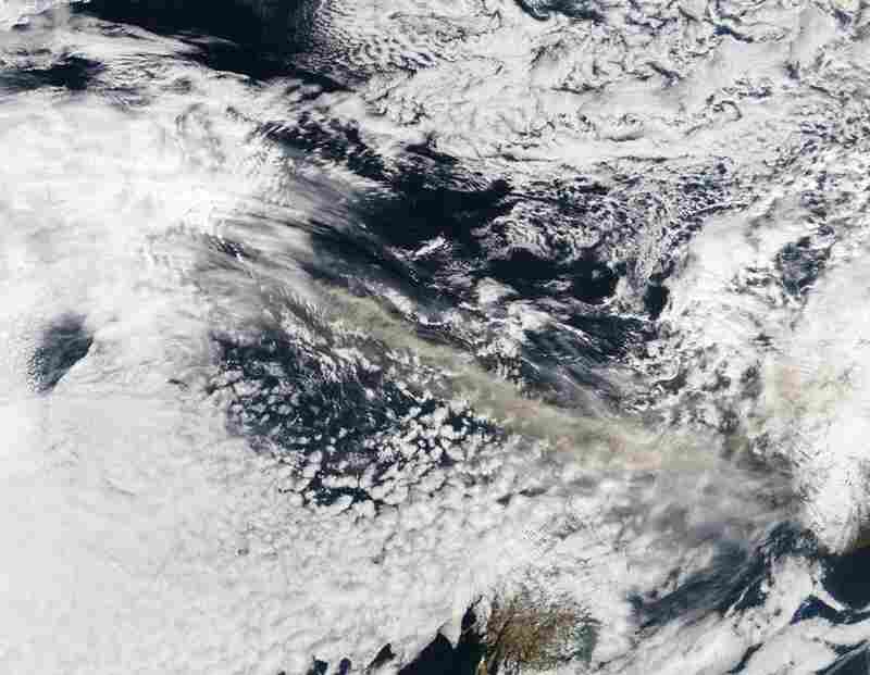 The MODIS instrument on NASA's Terra satellite captured an ash plume from Eyjafjallajokull volcano over the North Atlantic on April 15.