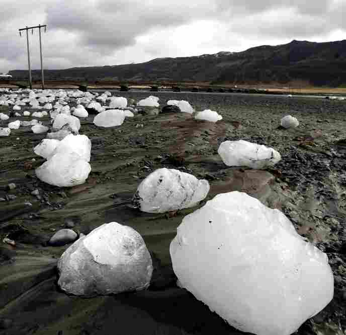 Ice chunks carried downstream by floodwaters caused by volcanic activity lie on the Markarfljot riverbank April 16, about 75 miles east of Iceland's capital of Reykjavik.
