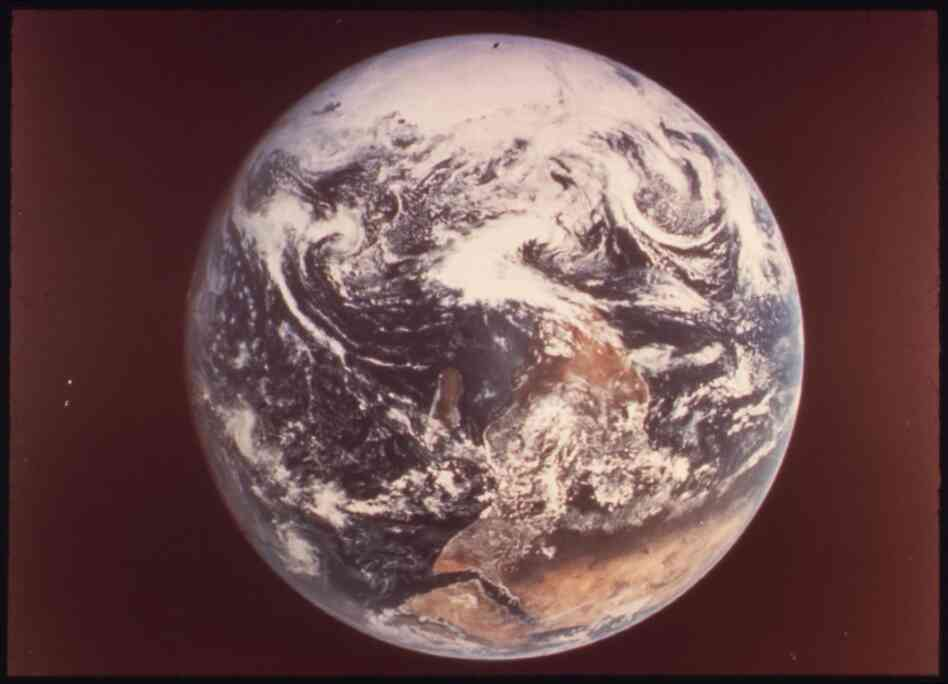 Earth, as seen by astronauts Eugene Cernan, Ronald Evans and Harrison Schmidt from Apollo 17, December 1972.