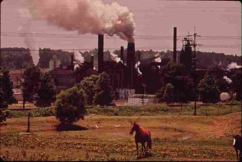 "The Atlas Chemical Co. belches smoke across pastureland in Marshall, Texas. The plant is referred to as ""Old Darky"" in the community because black soot from the plant covers everything nearby. June 1972."