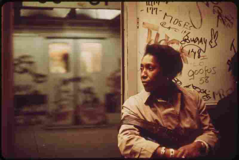 Interior of graffiti-marked subway car in New York City, May 1973.