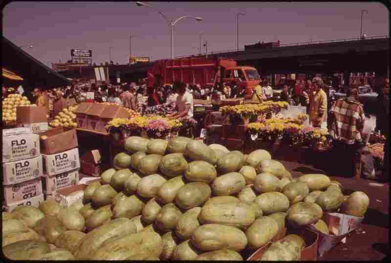Fruits and flowers at the outdoor market in Haymarket Square, Boston, May 1973.