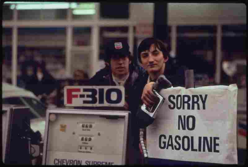 Gas station attendants in Portland, Ore., the day before the state's requested Saturday closure of gasoline stations November 1973.