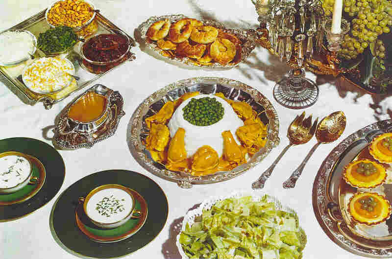 Chicken, mashed potatoes, and peas, photograph for use in McCall's Magazine, circa 1944