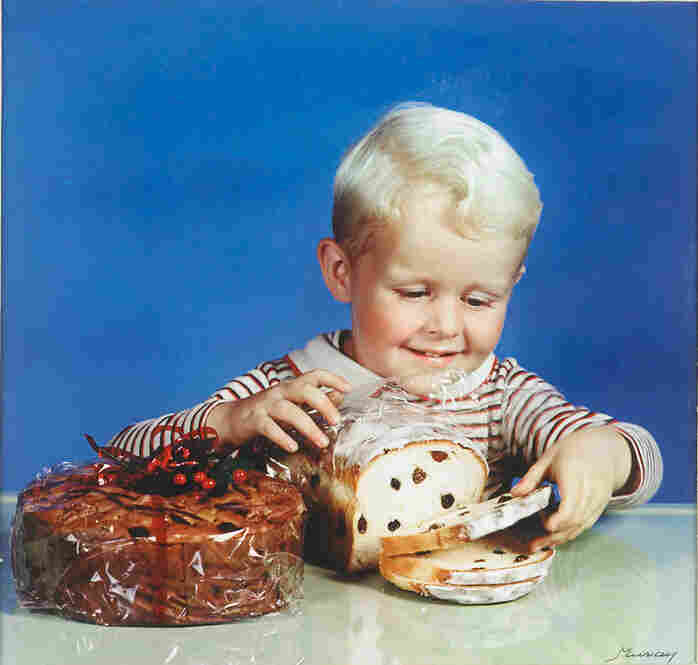 Boy with raisin bread, photograph for the cover of McCall's Homemaking Magazine, circa 1944