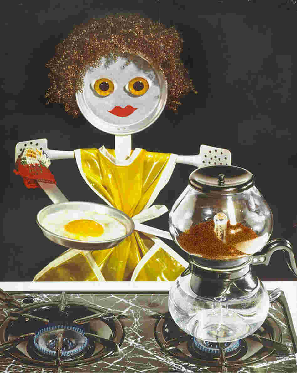 Doll cooking egg, photograph for use in McCall's Magazine, no date