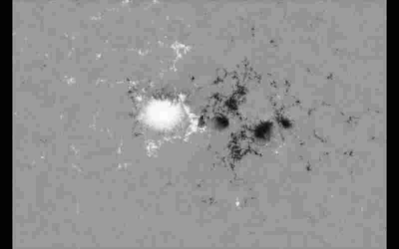 On March 29 the new telescope captured this image of a sunspot, a dark patch caused by magnetic activity on the surface of the sun. NASA reports that the white and black colors indicate opposite magnetic polarities and that the main white area is approximately the size of Earth.