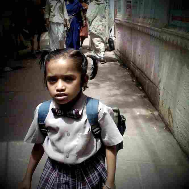 Going to school in uniform, Varanasi.