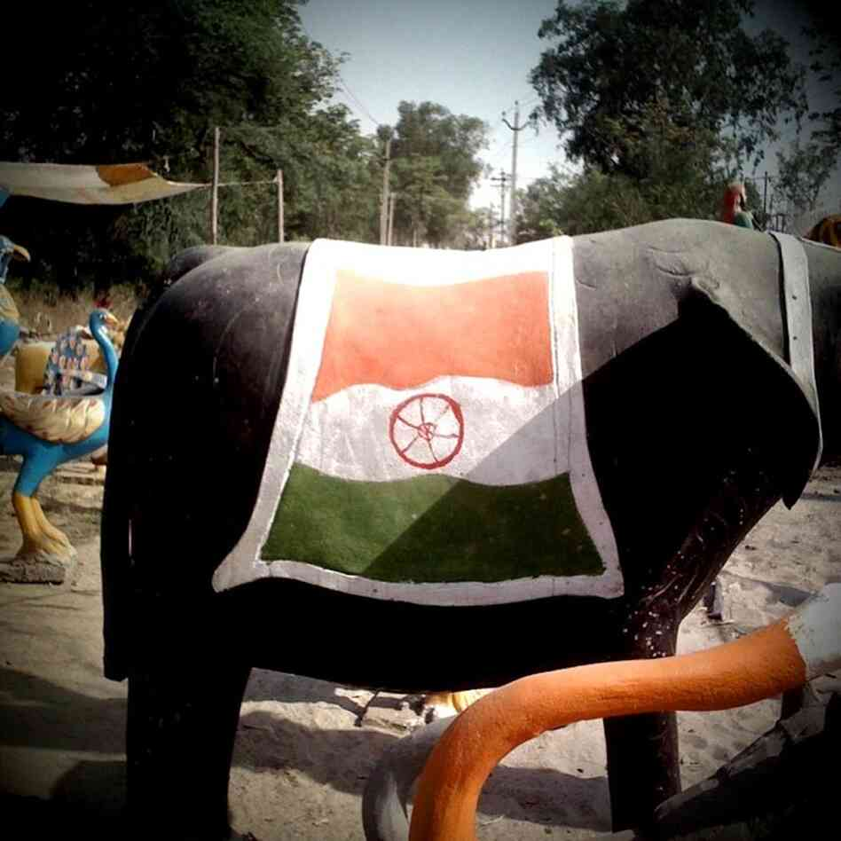 Elephant statue draped in Indian flag, Amritsar.
