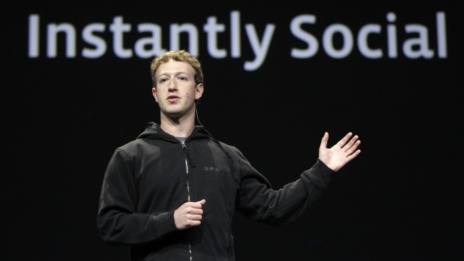 Facebook CEO Mark Zuckerberg delivers a keynote address at the Facebook developers conference in San Francisco on April 21.