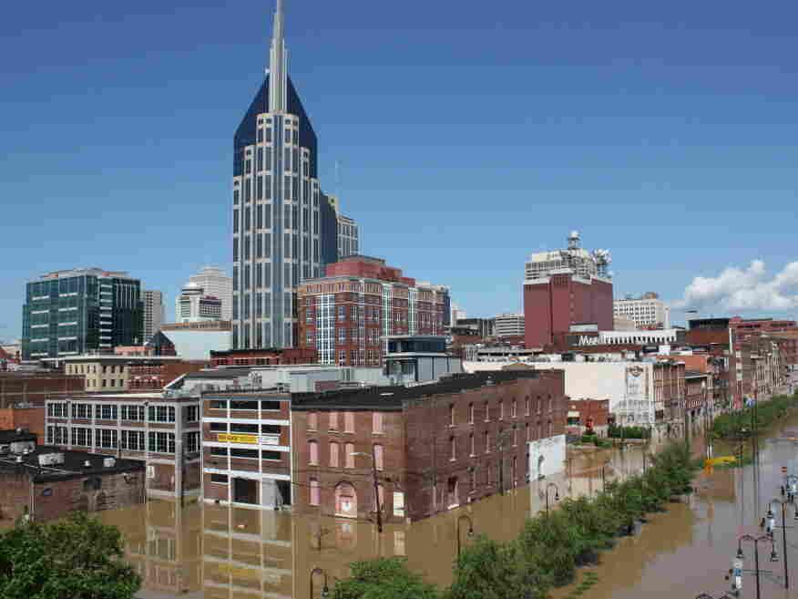 A flooded Nashville skyline
