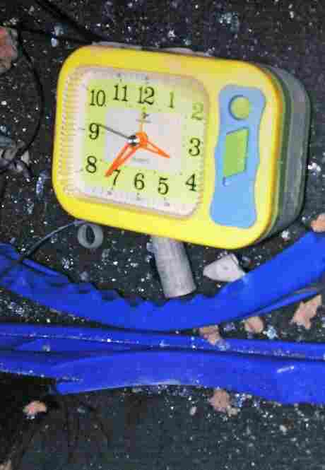 This photo, released by the New York City Police Department, shows one of the alarm clocks found in the Nissan Pathfinder.