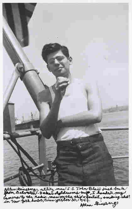 """Allen Ginsberg, utility man S.S. John Blair just back from Galveston-Dakar doldrums trip, I handed my camera to the radio-man on the ship's fantail, smoking what? In New York harbor, circa October 30, 1947."""