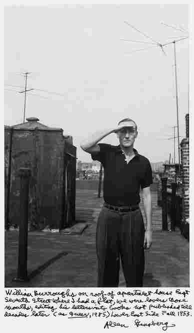 """William Burroughs on roof of apartment house East Seventh Street where I had a flat, we were lovers those months, editing his letters into books not published til decades later (as Queer, 1985) Lower East Side Fall 1953."""