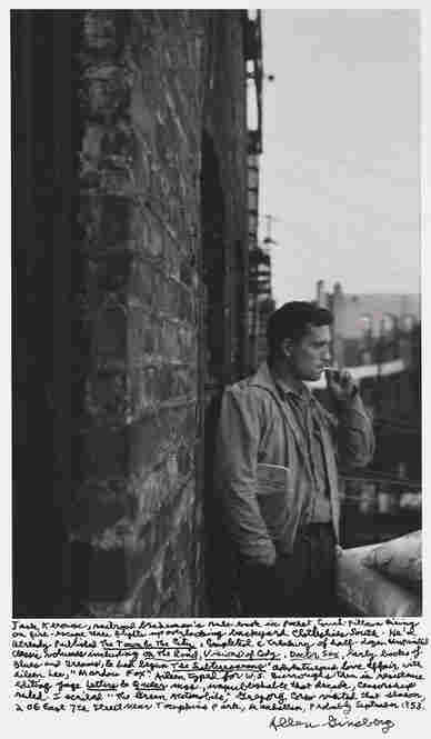 """Jack Kerouac, railroad brakeman's rule-book in pocket, couch-pillows airing on fire-escape three flights up overlooking backyard clothes-lines south. ... 206 East 7th Street, near Tompkins Park, Manhattan, probably September 1953."""