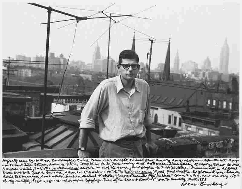 """Myself seen by William Burroughs, Kodak Retina new-bought 2'd hand from Bowery hock-shop, our apartment roof Lower East Side between Avenues B & C, Tompkins Park trees under new antennae. ... Fall 1953."""