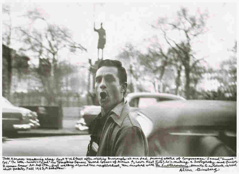 """Jack Kerouac wandering along east 7th Street after visiting Burroughs at our pad ... he's making a Dostoyevsky mad-face or Russian basso be-bop Om ... Fall 1953, Manhattan."""